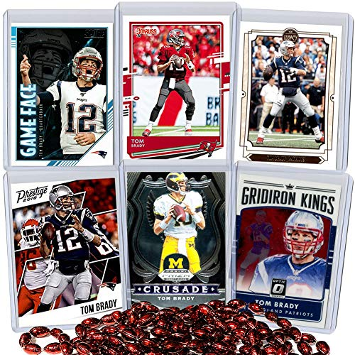 Tom Brady Football Card Bundle, Set of 6 Assorted Tampa Bay Buccaneers New England Patriots and Michigan Wolverines Football Cards of Quarterback Super Bowl Champion Protected by Sleeve and Toploader