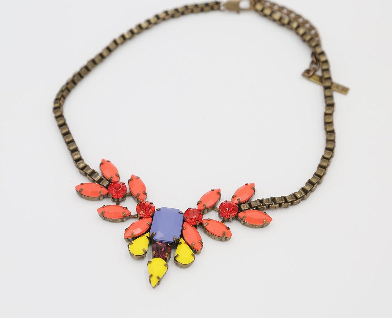 Acrylic Stones Inlaid Copper Necklace
