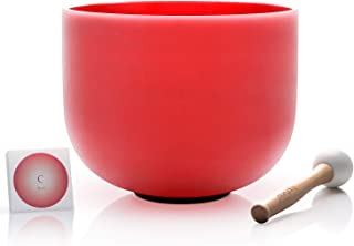 TOPFUND C Note Red Color Quartz Crystal Singing Bowl Root Chakra 10 inch, Sound Bowl Rubber Mallet and O-ring Included