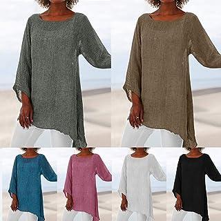 Tickas Women Blouse,Women Summer Soft Solid Shirt Plus Size O Neck Long Sleeves Irregular Hem Casual Long Loose Tops Basic Blouse