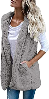 Womens Vest Winter Warm Hoodie Casual Wool Coat Faux Fur Zip Up Sherpa Jacket