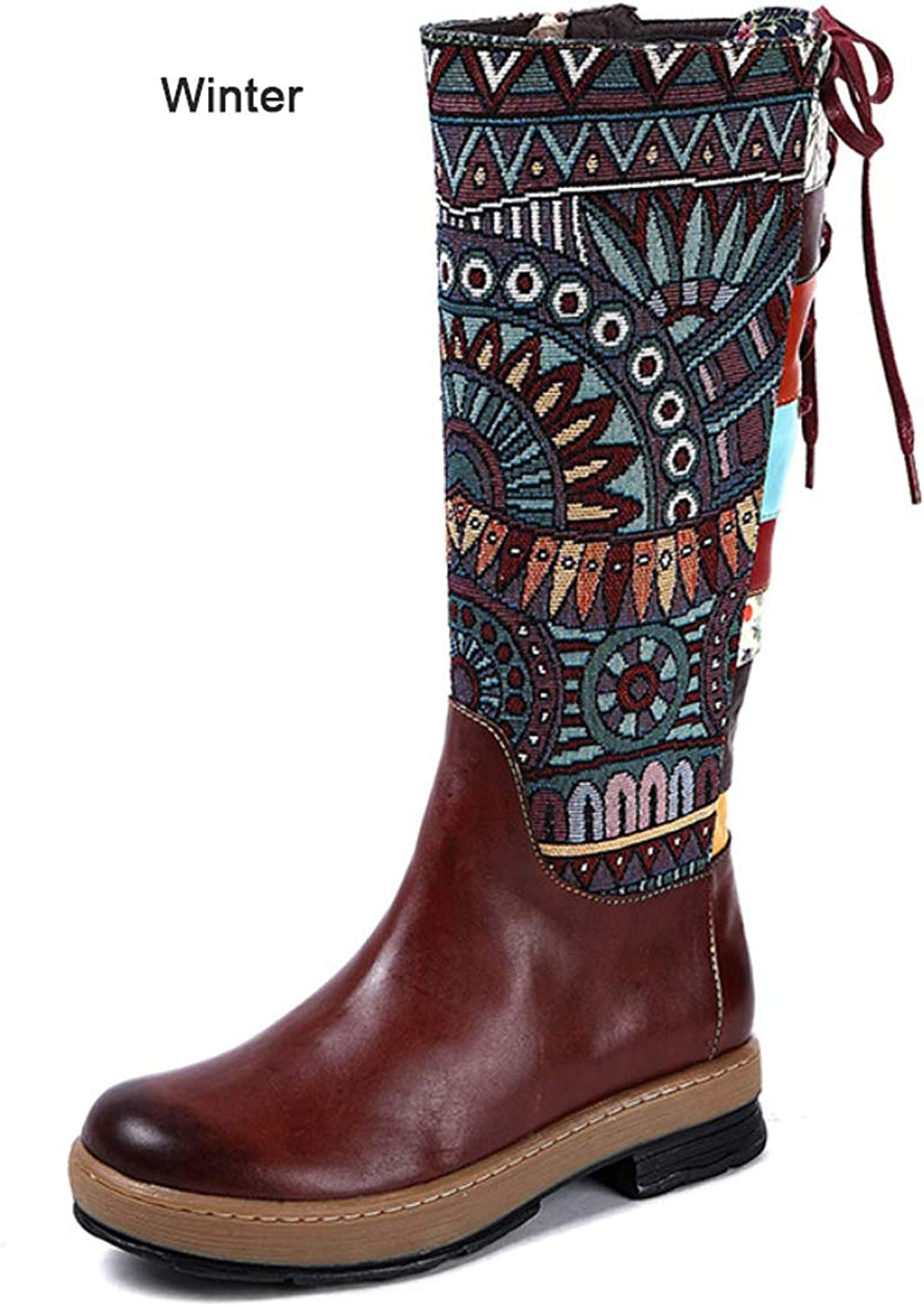 Womens Knee High Boots Vintage Ethnic Style Comfort Boots Lace-up Zipper Flat Heel shoes Fall & Winter