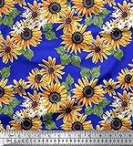 Soimoi Blau Poly Georgette Stoff Blätter und Sonnenblumen