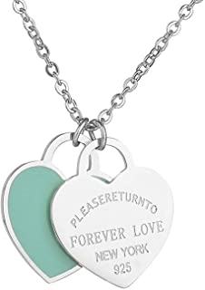 Best tiffany double heart necklace blue Reviews