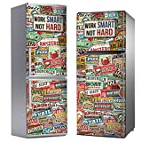 MEGADECOR Vinilo Adhesivo Decorativo para Nevera con Diseño de Carteles Vintage Work Smart, Not Hard (185cm x 60cm)