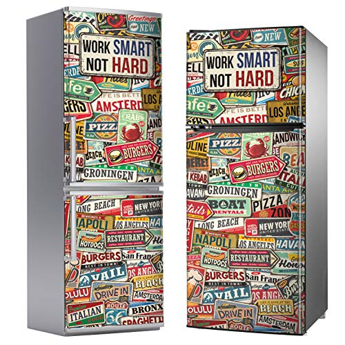 "Megadecor - Adesivo decorativo per frigorifero, motivo vintage con scritta ""Work smart, not hard"""