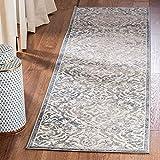 Safavieh Brentwood Collection BNT810G - Camino de mesa (2 x 6 m), diseño de damasco, color gris claro y azul