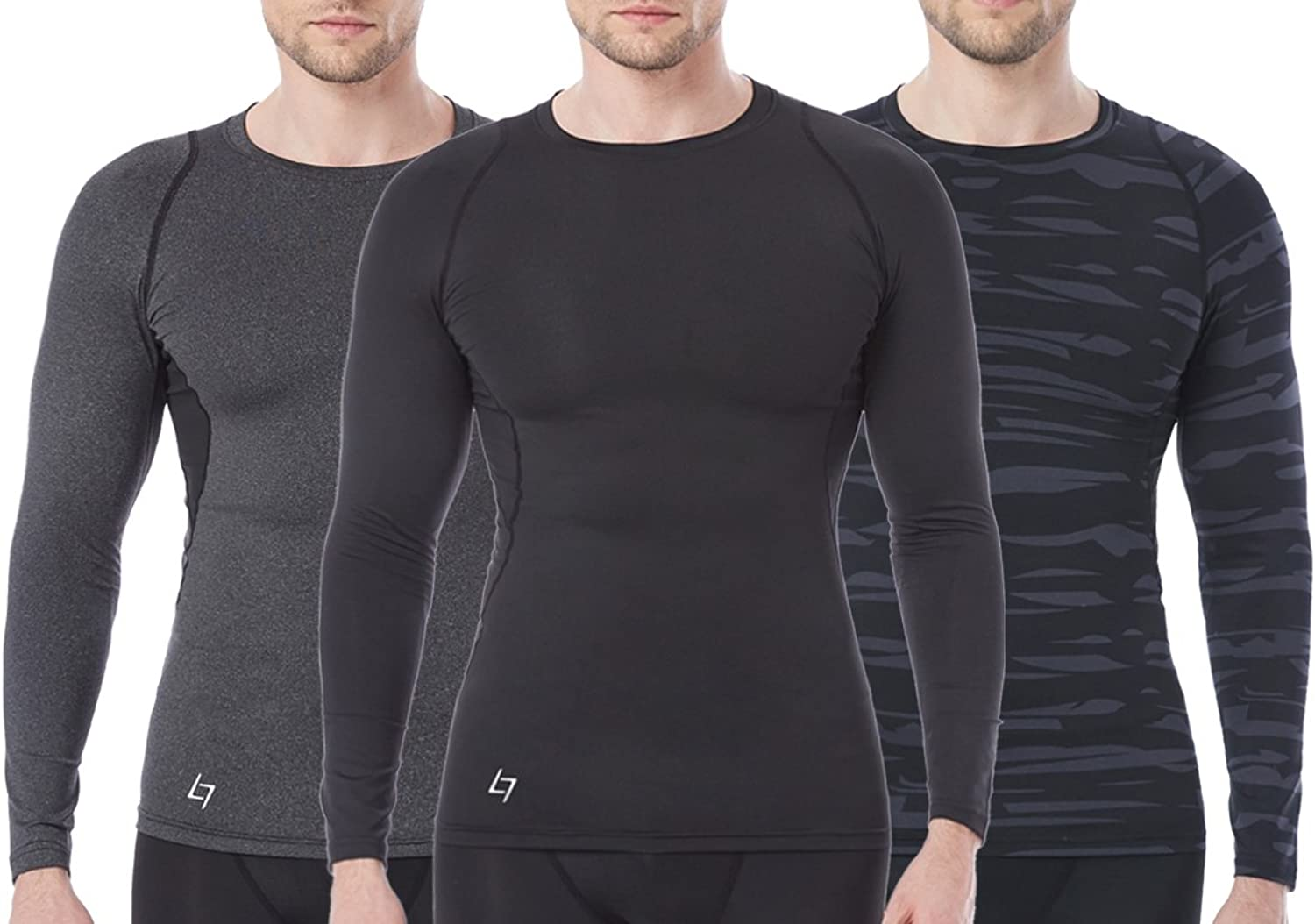 Fittin Men's Athletic Long Sleeve Compression T Shirts - for Sport Running Basketball Football