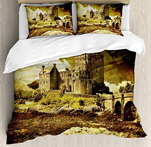 Queen Size Medieval 4 Piece Bedding Set Duvet Cover Set, Old Scottish Castle Vintage Style European Middle Age Culture Heritage Town Photo, Comforter Cover Bedspread Pillow Cases with Zipper Closure