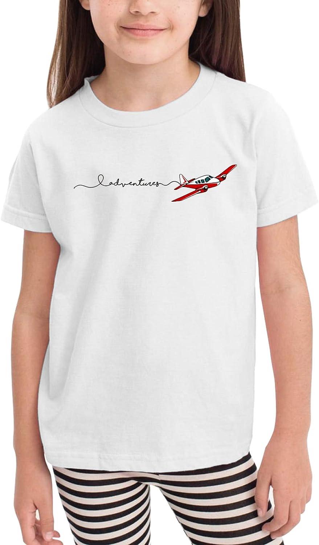 Adventures Airplane Children's T-Shirt,Short Sleeve Cotton Shirts Boys Girls Tee Tops for Summer