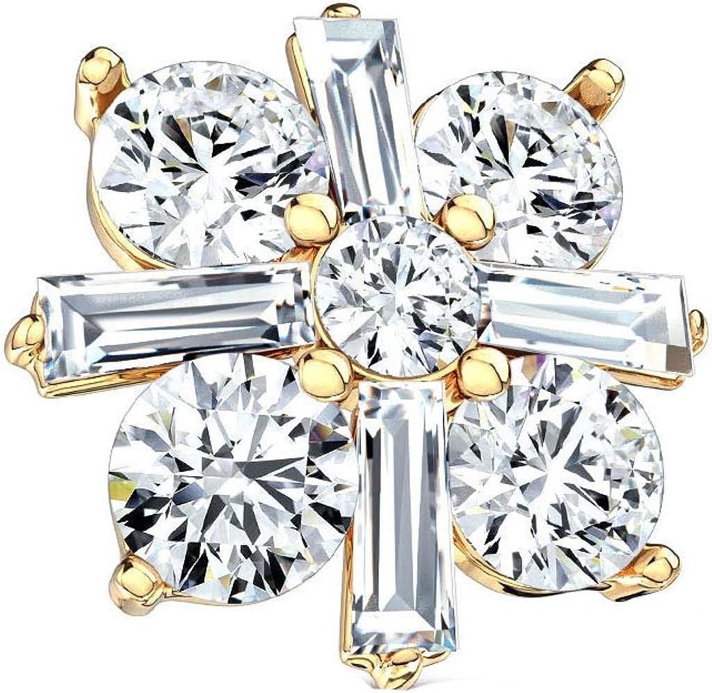 Blue Palm store Jewelry 14GA 1.6mm Ranking TOP19 Crossed Cut Square Princess CZ