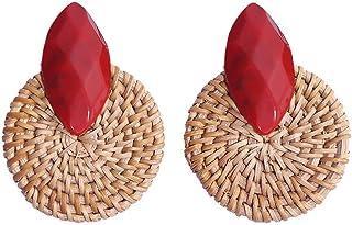 XMJM Boucles d'oreilles en Résine De Rotin, Pendentifs Ronds, Boucles d'oreilles en Pendentif, Boucles d'oreilles Vintage ...