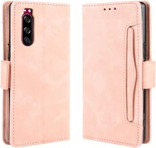 For Sony Xperia 5 Wallet Style Skin Feel Calf Pattern Leather Case with Separate Card Slot New (Black) MengT (Color : Pink)