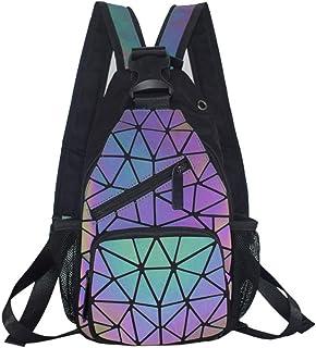 sling backpack purse for women Cool Holographic Festival Rave Shoulder Bag Color Changes Luminous Crossbody Daypack Geometric
