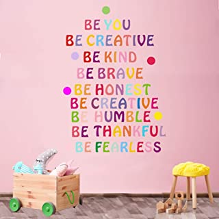 Inspirational Quote Wall Decal, Colorful Lettering Quote Wall Stickers, Be You Be Creative Be Kind Be Brave Motivational Sayings Decal for Classroom Bedroom Nursery Kids Decoration,DIY Vinyl Art Mural