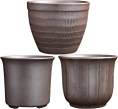 CLISPEED 3pcs Small Flower Pot Ceramic Redware Planters Succulent Pots Round Nursery Pots Flower Vase for Indoor Home Gard...
