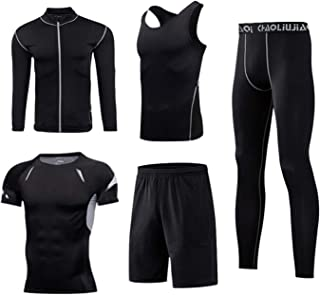Spring and Autumn Workout Clothes Men's Quick-Drying Fitness Clothes Basketball Suit Sports Suit Short Sleeve Tight Runnin...