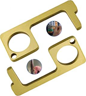 RANI Brass Door Opener and Stylus Keychain, Pack of 2 No Touch Door Opener Tool, Elevator Button Pusher Brass Key Ring, Zi...