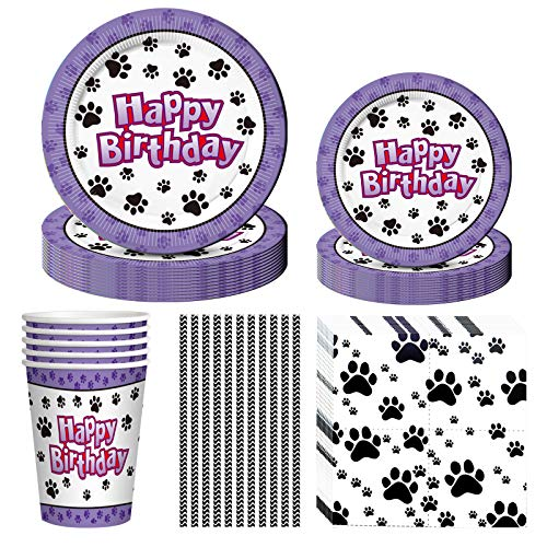 Dog Party Supplies, 60PCS Dog Disposable Tableware with Dog Paw Prints Plates Cups Napkins Serves 10 for Dog Birthday Baby Shower Theme Party Decorations