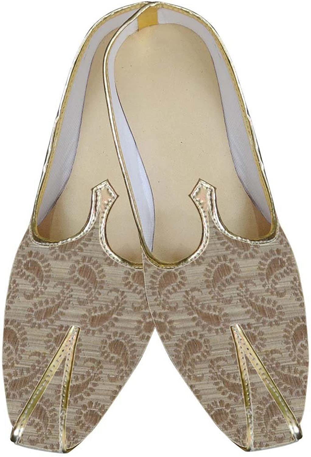 INMONARCH Mens Beige Brocade shoes Traditional MJ0021