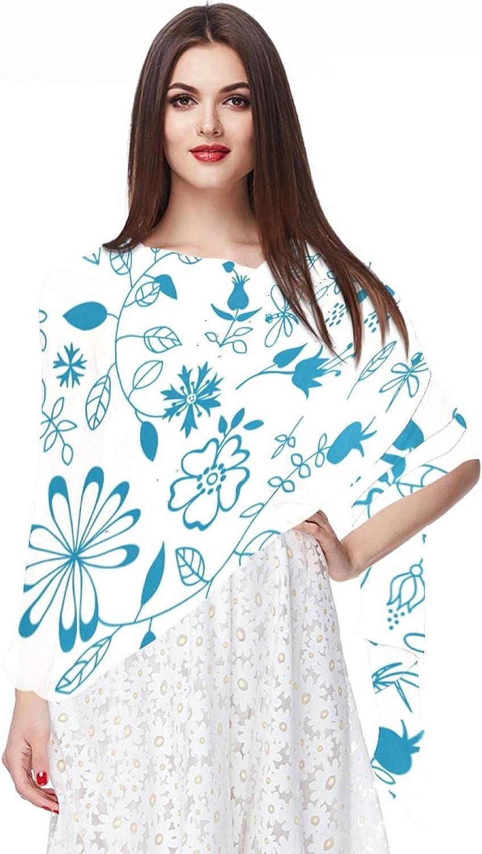 Retro Blue Floral Women Soft Chiffon Pashmina Shawl Wrap Scarf for Bridesmaid Wedding Formal Party Evening Dress