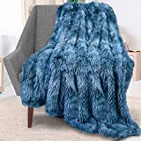 Rainlin Royal Faux Fur Throw Blanket for Sofa Chair Couch and Bed Large Super Soft Warm Elegant Cozy Home Throw Blanket Fuzzy Plush Velvet Blanket(Blue,63x79 inch)
