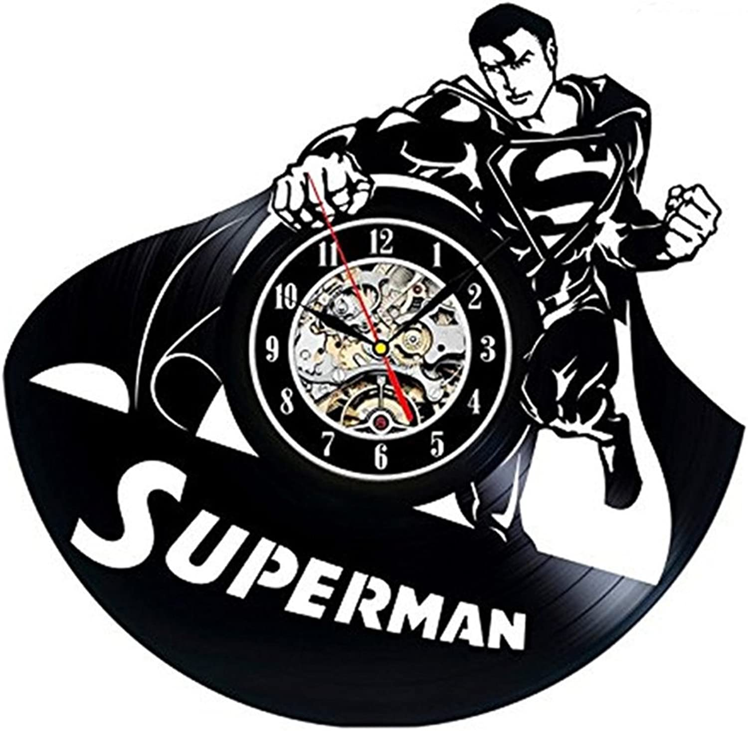 Wall Clock Vinyl Records 3D Superman Decor Ultra Silent Handmade Home Decorative Wall Mounted Clock for Family Room Popular Mechanical Art 30CM
