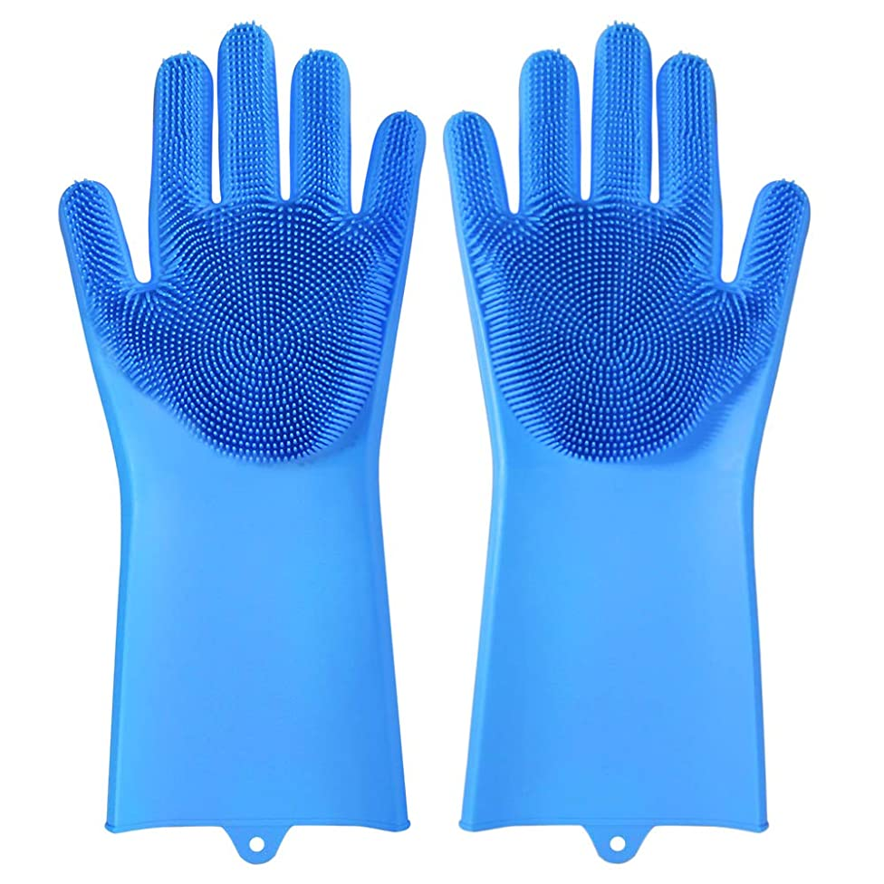 NeillieN Dishwashing Scrubber Magic Silicone Gloves, 2-in-1 Reusable Multi-Function Non-Slip Silicone Oven Gloves, Home Heat-Resistant Kitchen Tools 13.6 x 6.1 x 1