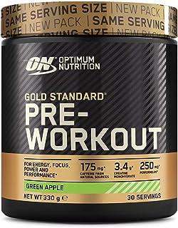 Optimum Nutrition Gold Standard Pre Workout en Polvo. Bebida Energética con Creatina Monohidratada. Beta Alanina. Cafeína y Vitamina B Complex. Manzana Verde. 30 Porciones. 330g. Embalaje Puede Variar