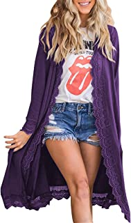 MIROL Women's Casual Long Sleeve Open Front Lace Hem Solid Color Loose Fit Long Cardigans Sweater Coats