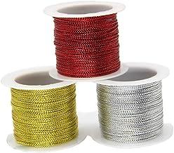 lasenersm 3 Rolls 196.8 Ft Tinsel String Craft Making Cord Non Stretch Jewelry Making Gift Wrap Ribbon Metallic Cord Packa...
