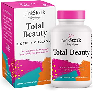 Pink Stork Total Beauty: Hair Skin and Nails Vitamins for Women with Biotin + Collagen + Calcium, Promotes Strong Healthy ...