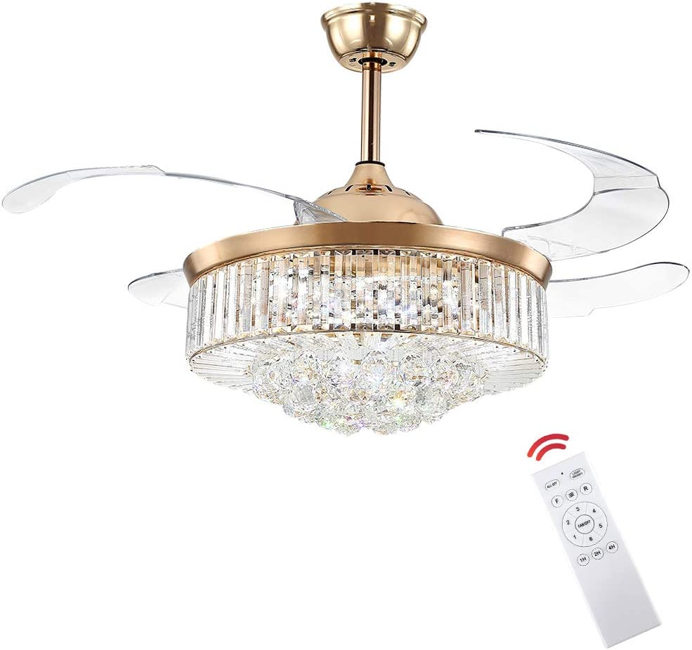 Crystal Fandelier Fashion Ceiling Fan with Free shipping anywhere in the nation and Control LED Light Remote