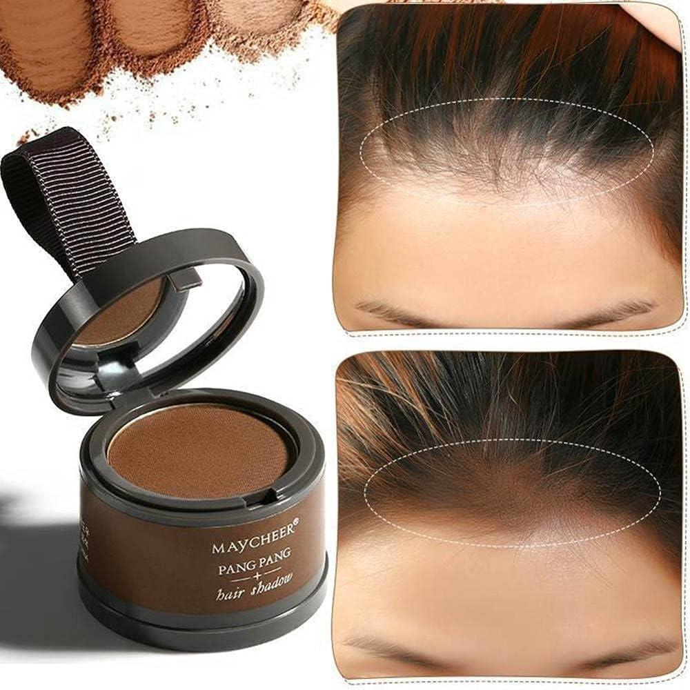 Maycheer Powder hair sahdow, Sombra de pelo en polvo. Correctora de raíces, entradas y línea del cabello. Instantáneo unisex (Marrón)