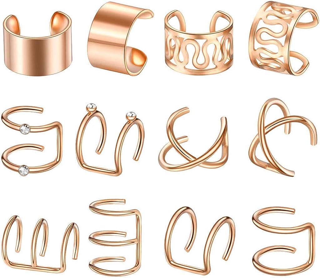 oshhni 6 Pairs Ear Cuff Mixed Style Non-Piercing Jewelry Earrings Hoop Women Unisex