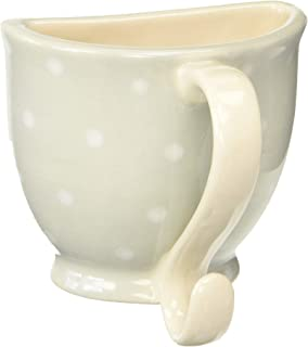 C.R. Gibson Mountable Gray and White Polka Dot Ceramic Teacup Chalk Holder for Chalk Boards 3.3