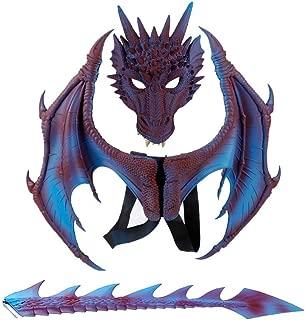 Balai Kids Fantasy Halloween Dinosaurio Dragon Costume Child Animal Mask Wing Tail Accessory (Purple)
