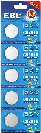 EBL Pila CR2016 / 2016 / DL2016 / ECR2016 3V Litio Moneda Botón (5 Unidades)