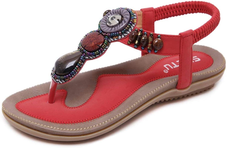 SHIBEVER Summer Flat Gladiator Sandals for Women Comfortable Casual Beach shoes Platform Bohemian Beaded Flip Flops Sandals Red 10