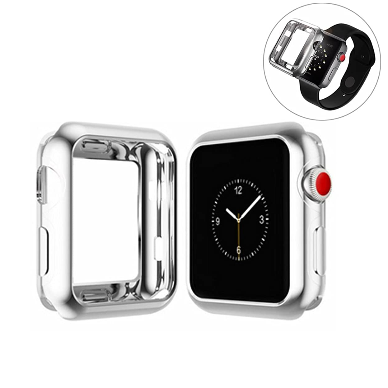 亡命登るつなぐApple Watch Series 3 / Series 2 / Series 1 ケース 38mm, 耐衝撃性 脱着簡単 アップルウォッチ ケース アップルウォッチ カバー シリーズ 3 / シリーズ 2 / シリーズ 1 保護カバー 柔らかい TPUケース