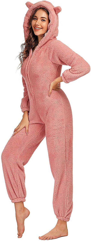 chouyatou Womens Ultra Comfy Lounge Furry Sherpa Romper Onesie Pajamas Cute Ear Hood