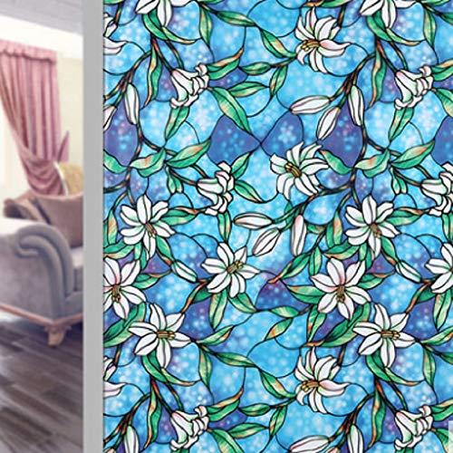 Película para Ventanas de Mantenimiento Fresco estática Lily, Pegatinas de Vidrio para el hogar de Color de privacidad, utilizadas para Pegatinas de Vidrio para Puertas y Ventanas A52 40x200cm