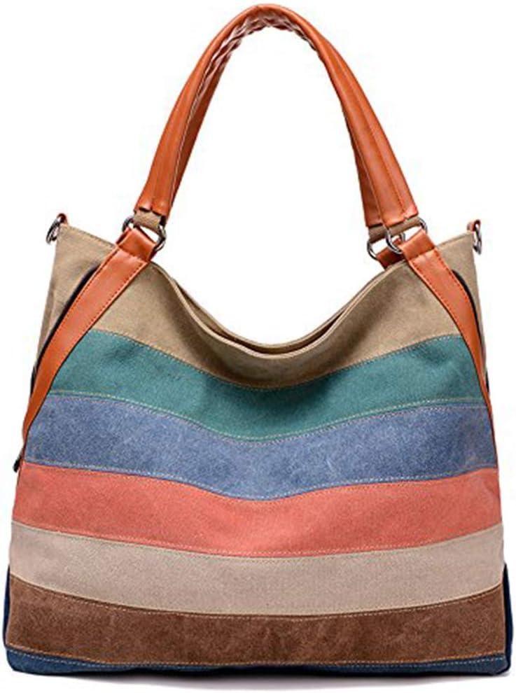 Wewo عارضة شاطئ حقيبة الكتف حقيبة كبيرة السعة للتسوق قوس قزح قماش حمل حقيبة الأزياء حقيبة كروسبودي للنساء (متعددة الألوان)