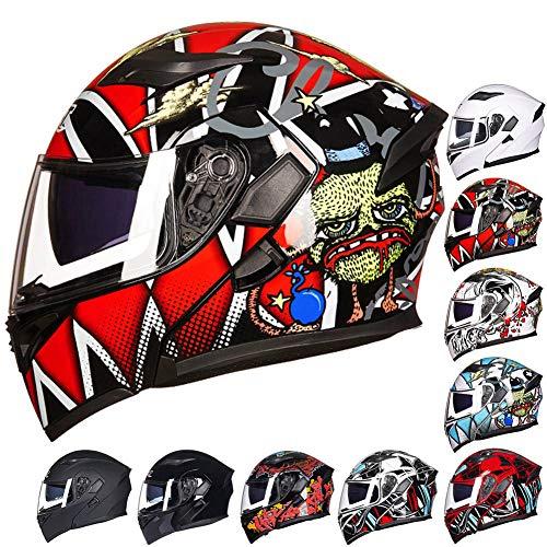 SUTOUKUI Junge Stilvolle Motorradhelme,Erwachsene Doppellinse Motorrad ATV Motorrad-Rennsport-Integralhelm,DOT/ECE-Zertifizierung, Alle Jahreszeiten,D,L