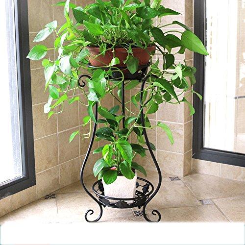 Étagère à fleurs en fer à repasser en style européen salon - plancher - balcon au sol balustrade intérieure et extérieure (Couleur : NOIR, taille : 33 * 28 * 80cm)