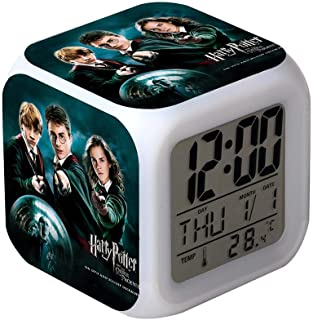 Electronic Alarm Clock for Harry Potter Theme, Date Temperature Display Alarm Clock with 7 Colorful Night Light - Best Gift for Kids,009