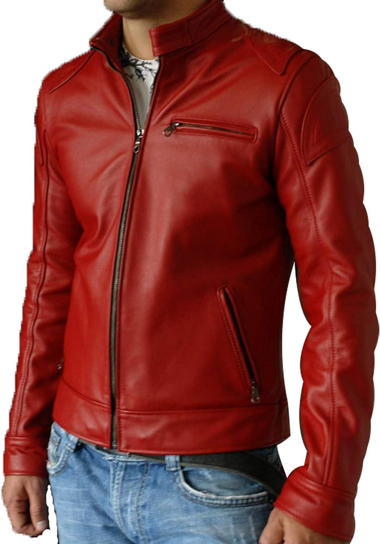 Alishbah Mens Leather Jacket Stylish Genuine Lambskin MJ69