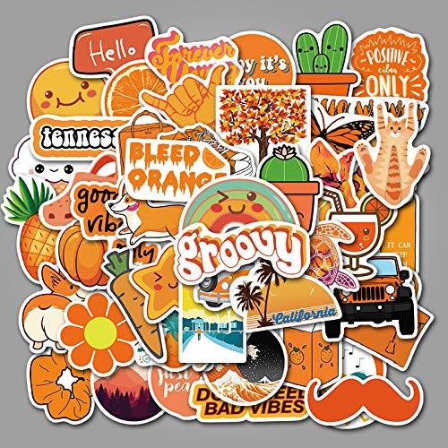 Orange Small Fresh Cartoon Sticker Suitcase Notebook Sticker 50Pcs