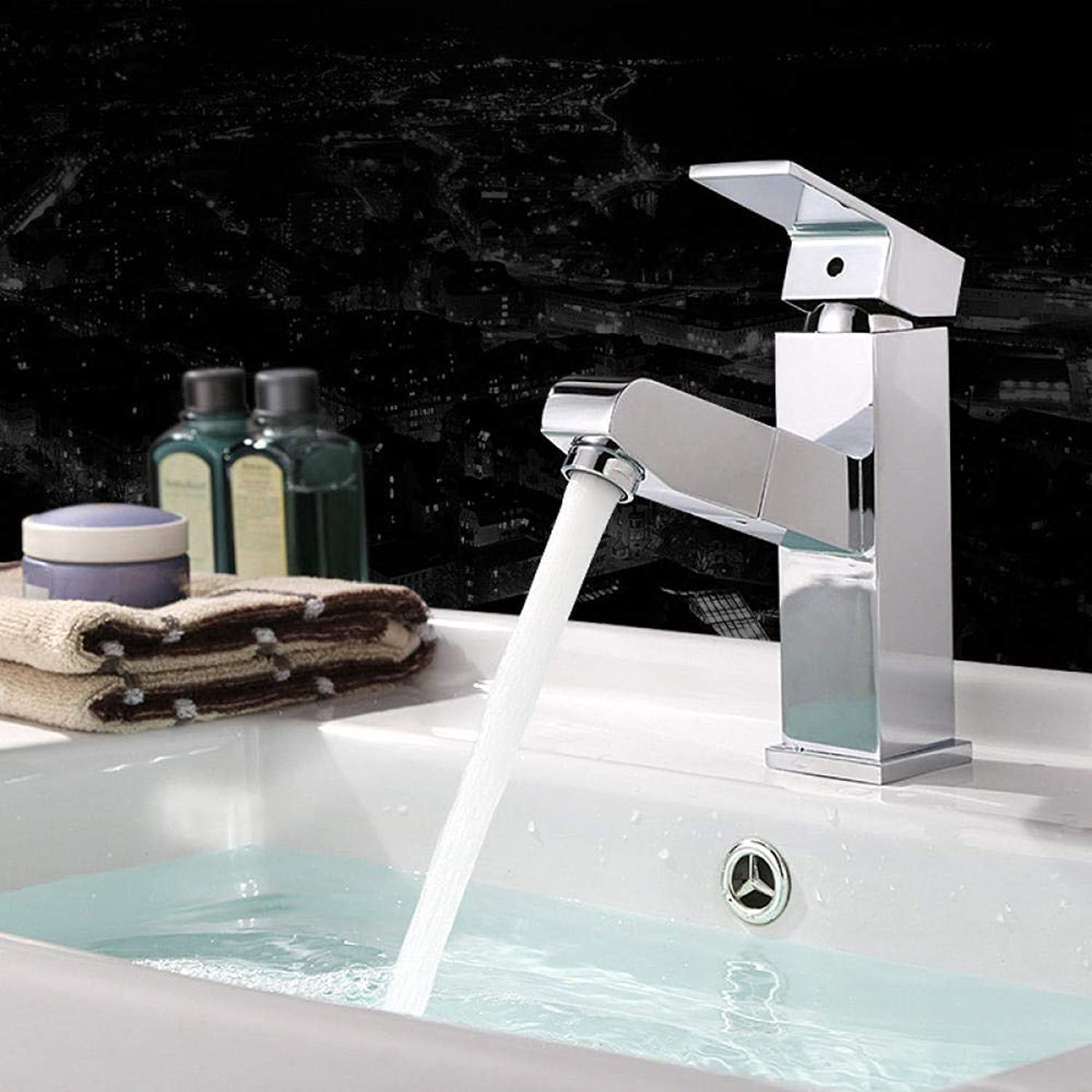 Aimeishi Hot and cold water basin faucet all copper pull basin telescopic wash basin bathroom faucet@Short