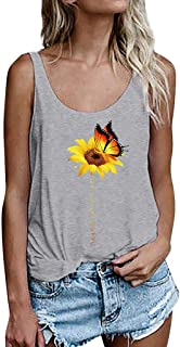 Women Sexy Tank Top, OULSEN Summer Fashion Simple Sunflower Pattern Printing Round Neck Sleeveless T Shirt Loose Casual Plus Size Vest Blouse Tops